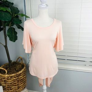 NWOT SOFT CORAL PINK HIGH LOW BELL SLEEVE BLOUSE